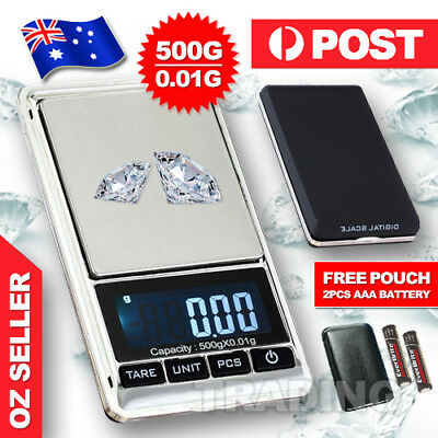 AU11.95 • Buy Portable 500g X 0.01g Digital Scale Jewelry Pocket Balance Gram LCD Herb Gold AU