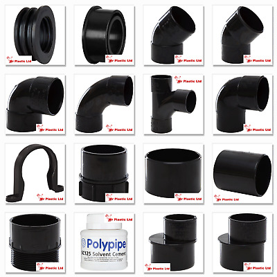 Polypipe 50mm Solvent Weld Waste Pipe Fittings In Black (actual Size 55mm) • 4.06£