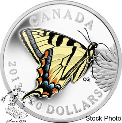 Canada 2013 $20 Canadian Butterfly Tiger Swallowtail Silver Coin • 75.73$