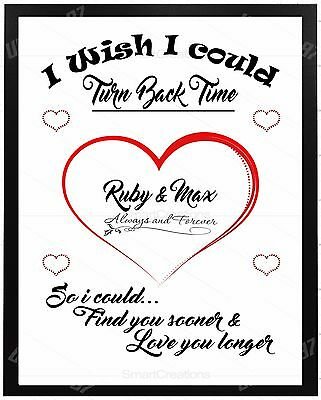 AU5.50 • Buy VALENTINES DAY Personalised GIFTS For Him Her Mr Mrs Love Turn Back Time Couples
