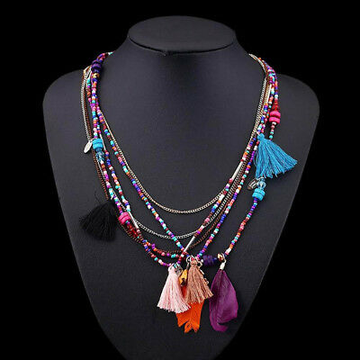 AU7.10 • Buy Statement Jewelry For Women Retro Feathers Tassels Multi-layer Necklace Beads