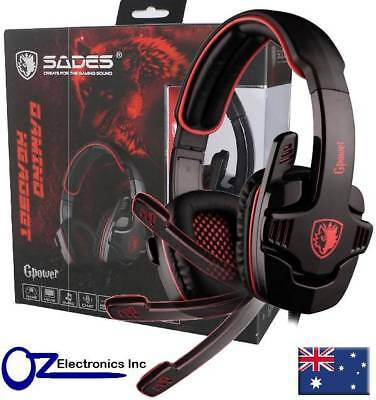 AU19 • Buy SADES SA-708 Stereo PC Gaming Headset Headphones Noise Cancel Mic RED BLUE GREY