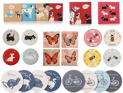 £13.99 • Buy Scottie Dog Cats Bee Butterfly Ceramic Heat Tile / Set Of 4 Coasters Red Blue
