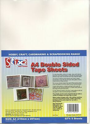 £4.99 • Buy Stix2 - A4 Double Sided Adhesive Tape Sheets - Pack Of 5