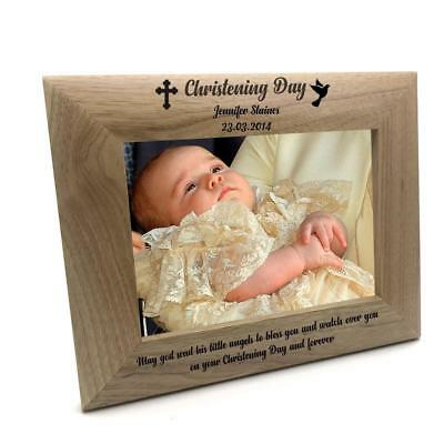 £13.99 • Buy Personalised Christening Day Wooden Photo Frame Gift FW67