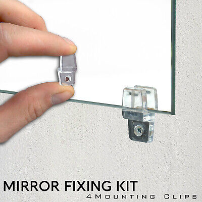 £3.49 • Buy 4 Mirror Wall Hanging Mounting Fixing Kit Frameless Plastic Mirror Wall Clips