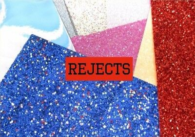 *rejects* Chunky Fine Glitter  Vinyl Leatherette  Suede  Fabric Size A4    • 1.20£
