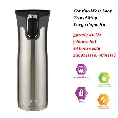 AU35.95 • Buy Contigo West Loop Thermos Large Drink Flask Travel Mug SS Autoseal® 591mL 20oz