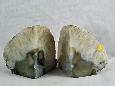 AB5 Green Agate Quartz Crystal Bookends - House Office Gift / Home Decor 1.5KG • 27.95£