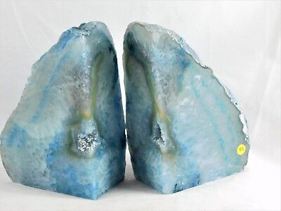 £39.96 • Buy AB35) Blue Agate Quartz Crystal Bookends - House Office Gift / Home Decor 2.8KG