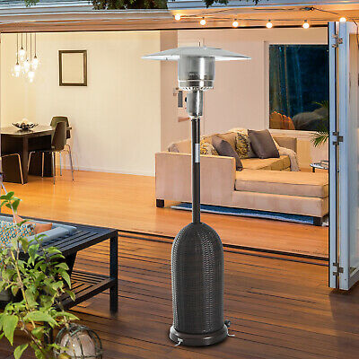 Outsunny 13KW Rattan Patio Heater Outdoor Stainless Steel Gas Heating W/ Wheels • 94.99£