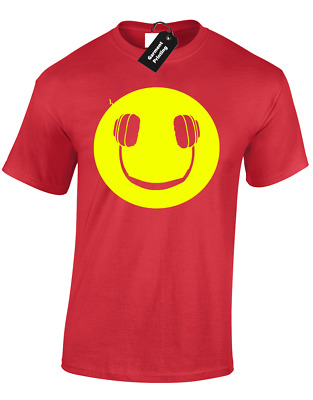 Smile Headphones Mens T Shirt Funny Music Dj Dance House Vinyl Rave Mix Gift • 6.99£