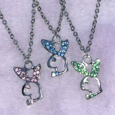 £6.78 • Buy Playboy Bunny Rabbit Crystal Silver Chain Pendant Necklace Pink Green Blue