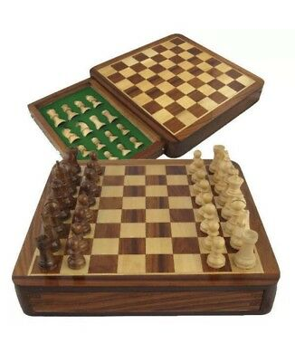 £27.50 • Buy Magnetic Wooden Chess Set Storage Slots Portable Top Quality Board Games 7''