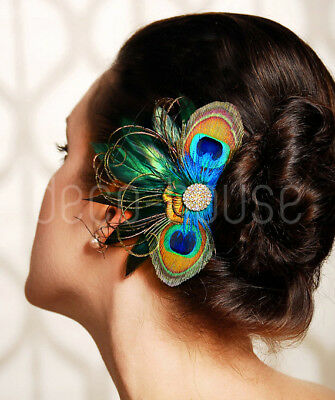 LUXE Blue Peacock Feather Fascinator Hair Clip Wedding Party Vintage Headpiece • 11.49£