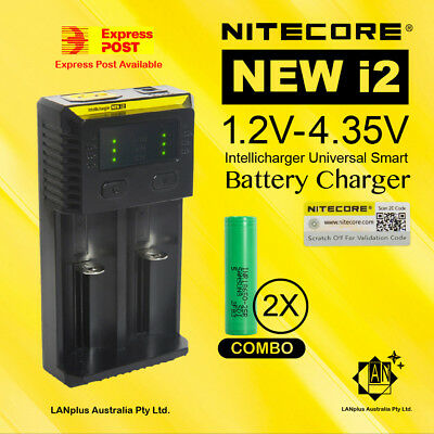 AU37.99 • Buy 2x Samsung 18650 25R 2500mah Rechargeable Li-ion Battery + Nitecore I2 Charger