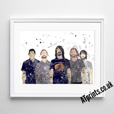 FOO FIGHTERS Print Poster Watercolour Framed Canvas Wall Art Gift Idea • 6.99£