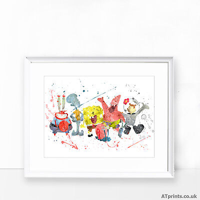 Spongebob Print Poster Watercolour Framed Canvas Wall Art Gift Idea TV • 6.99£