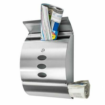 $29.99 • Buy Wall Mount Lockable Mail Box Letter Box Newspaper Roll Storage Stainless Steel