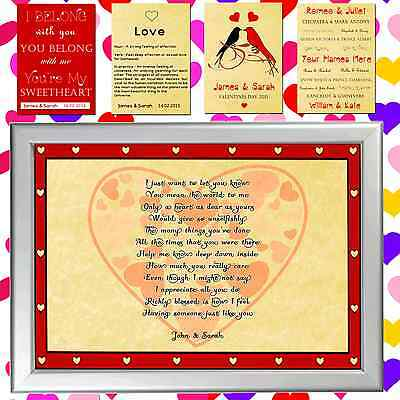 AU10 • Buy Personalised Love Print Valentines Day Present For Him Or Her, Man Or Woman