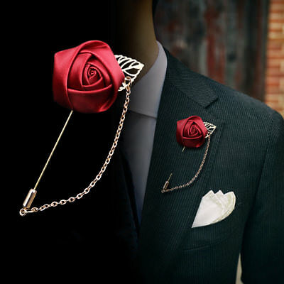 Wedding Flower Corsage Lapel Pin Brooch Suits Boutonniere Suit Stick Pins • 3.50£