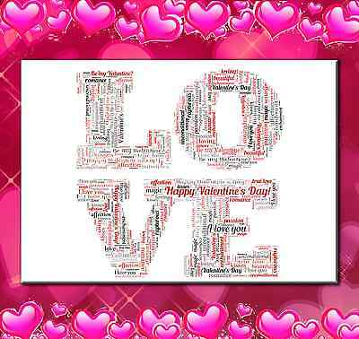AU10 • Buy Personalised Word Art Print For Him Or Her Valentines Day Or Anniversay Gift