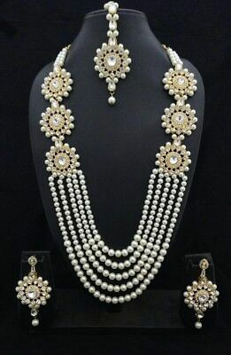 $18.66 • Buy Indian Pearl Bridal Necklace Earrings Wedding Gold Plated Fashion Jewelry Set
