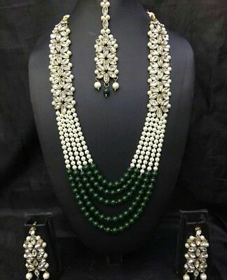 $29.99 • Buy Indian Pearl Necklace Earrings Ethnic Wedding Gold Plated Fashion Jewelry Set