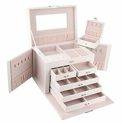 AU59.99 • Buy Large Black Wooden Jewellery Box Ring Necklaces Organiser Glass Top Storage Case