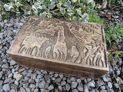 Hand Carved Made Mango Wood Wooden Giraffe Calf Jewellery Box Chest Case Holder  • 23.99£