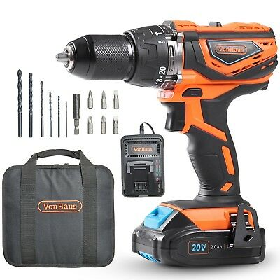 View Details VonHaus Cordless Drill And 2Ah Li-ion 20V MAX Battery, Charger, 13pc Accessories • 69.99£