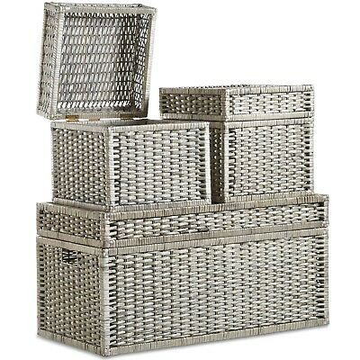VonHaus Large Storage Wicker Trunks Baskets Boxes Organiser With Hinged Lid • 99.99£