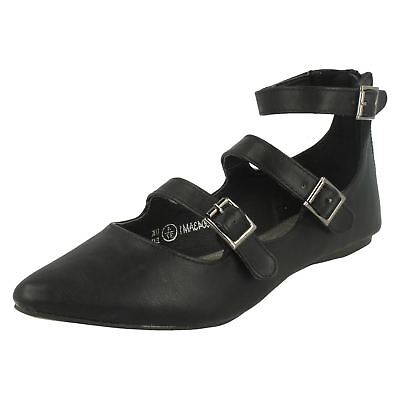 Spot On Ladies  Pointed Toe Zip Buckle Black Flat Casual Smart Shoes F8r0043 • 5.99£