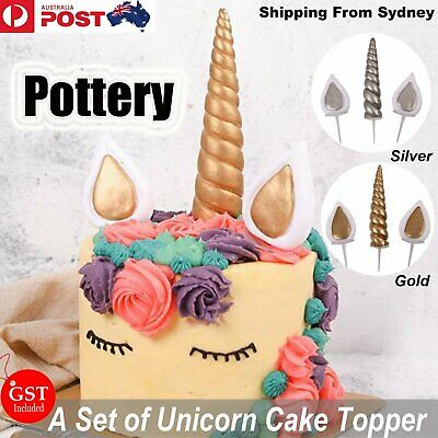 AU13.85 • Buy Pottery Unicorn Horns Ears Cake Topper Birthday Toppers Party DIY Fondant Decora
