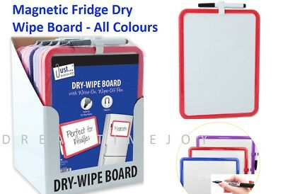 A4 Magnetic Fridge Dry Wipe Board With Pen Marker - Note Memo Office Or Home Use • 3.89£