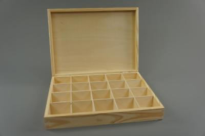 Wooden Tray Box 20 Compartment Display Storage Section Jewellery Keepsake 20-COM • 14.99£