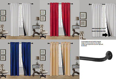 $20 • Buy SALE 2 Pc Blackout Insulated Room Darkening Rod Pocket Panel Window Curtain TOM
