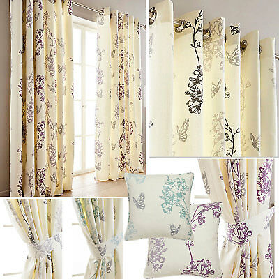 Thea Butterfly Print Lined Eyelet Ring Top Curtains (Pair Of) NOW £10, £15 & £20 • 20£