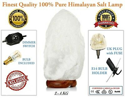 Large Himalayan White Natural Rock Salt Lamp 2 To 4 Kg (Plug & Bulb Included)  • 15.75£