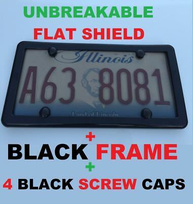$5.75 • Buy Unbreakable Flat Tinted Smoke License Plate Shield Cover + Black Frame + 4 Caps