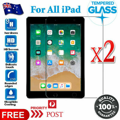 AU3.99 • Buy 2X Tempered Glass Screen Protector For Apple IPad 8th 7 5th 6th Gen Mini Air 1 2