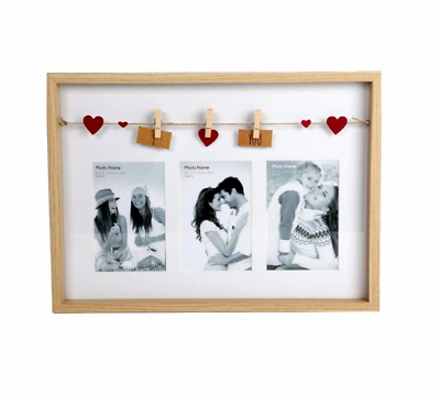 I Love You Wooden Box Style Frame With Clothes Line Pegs For 6  X 4  Photos • 12.99£