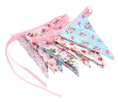 £7.99 • Buy Vintage Floral Party Bunting 100% Cotton Double Sided Bunting 3m 12 Flags