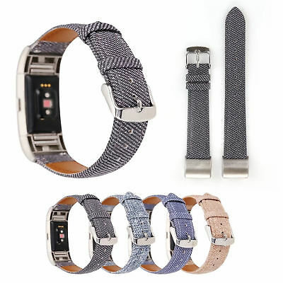 AU16.21 • Buy Genuine Leather Band Stripe Jean Fabric Pattern Watch Strap For Fitbit Charge 2