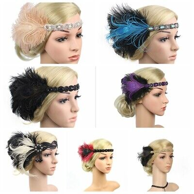£5.99 • Buy UK 1920s Headband Feather 20's Bridal Great Gatsby Flapper Gangster Headpiece