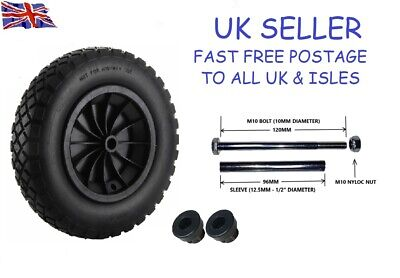 £14.95 • Buy PU 14  BLACK Puncture Proof Solid 3.50-8 Wheelbarrow Wheel COMPLETE WITH AXLE