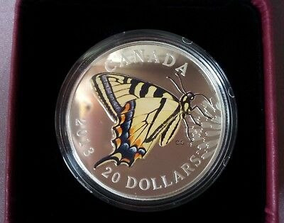 2013 Butterflies Of Canada: Tiger Swallowtail – $20  Fine Silver Coin   Q-0004 • 45.46$