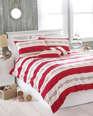 King Size Cream & Red Reef Knot Nautical Duvet Cover Set By Riva Home Polycotton • 19.99£