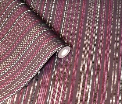 Plum, Raspberry & Silver, 1950's Retro, Dash Dot Stripe Wallpaper  • 10.99£