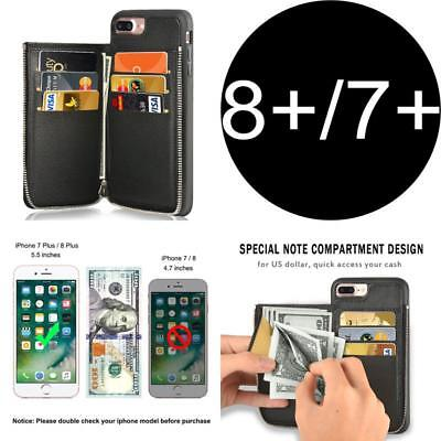 AU46.72 • Buy Credit Card Holder Slot Case With Zipper Wallet Cover For Iphone 7 Plus - Black